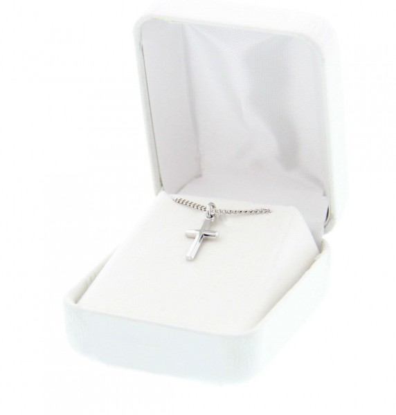 "Girl's Sterling Sliver Cross Pendant with 16"" - Sterling Silver"