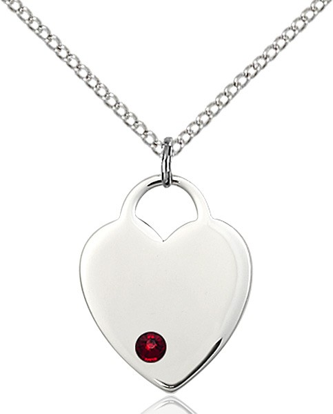 Medium Heart Shaped Pendant with Birthstone Options - Garnet