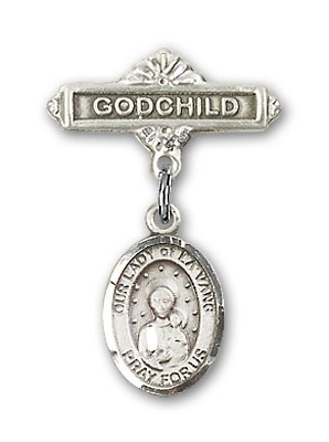 Baby Badge with Our Lady of la Vang Charm and Godchild Badge Pin - Silver tone