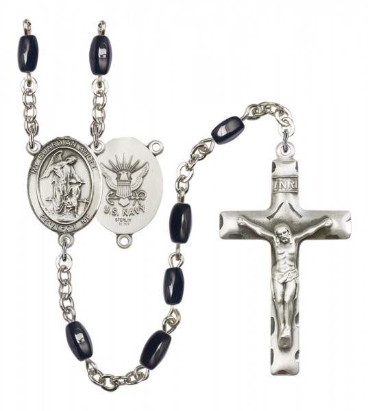 Men's Guardian Angel Navy Silver Plated Rosary - Black | Silver