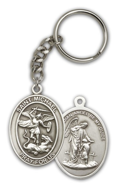 St. Michael Guardian Angel Keychain - Antique Silver