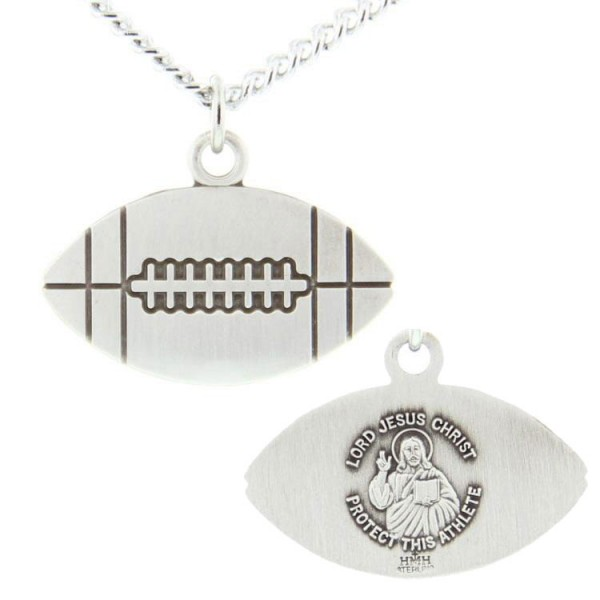 Jesus Christ Football Medal Sterling Silver - Silver