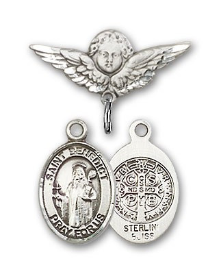 Pin Badge with St. Benedict Charm and Angel with Smaller Wings Badge Pin - Silver tone