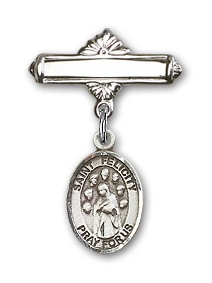 Pin Badge with St. Felicity Charm and Polished Engravable Badge Pin - Silver tone