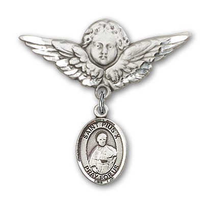 Pin Badge with St. Pius X Charm and Angel with Larger Wings Badge Pin - Silver tone
