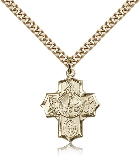 Men's Smaller 5-Way Pendant with Dove Center - 14KT Gold Filled