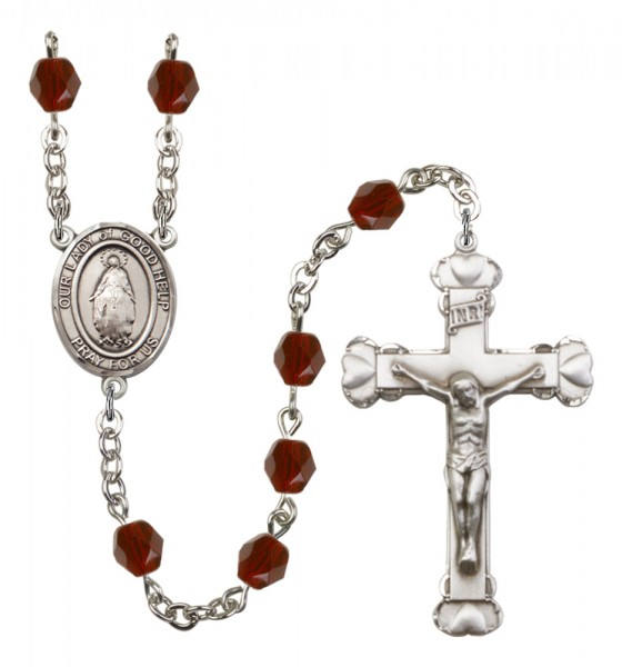 Women's Our Lady of Good Help Birthstone Rosary - Garnet