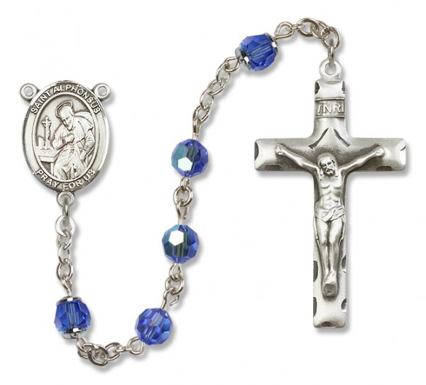 St. Alphonsus Sterling Silver Heirloom Rosary Squared Crucifix - Sapphire