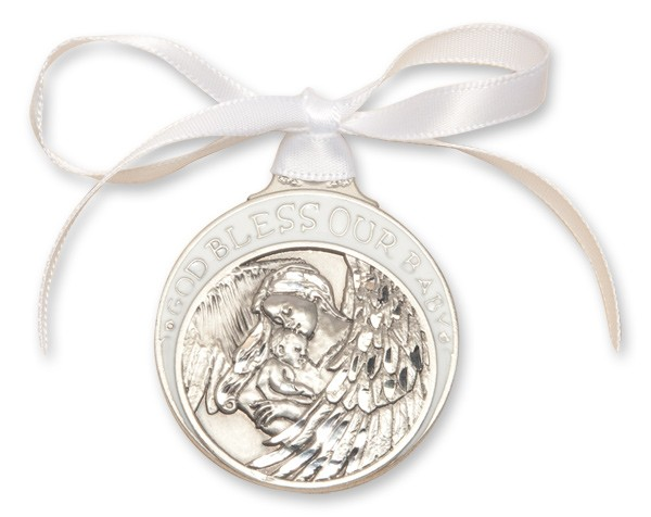 White Ribbon Guardian Angel Crib Medal in Pewter - White | Silver
