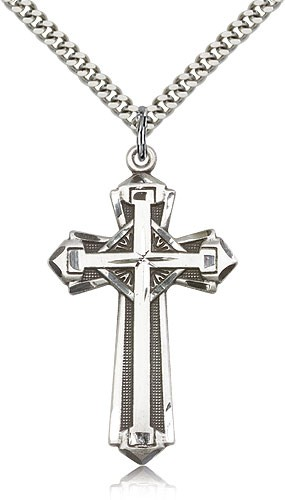 Cross on Cross Pendant - Sterling Silver