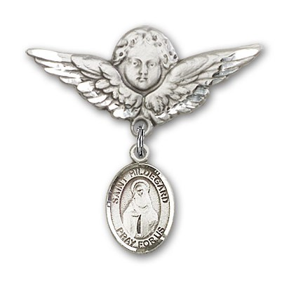 Pin Badge with St. Hildegard Von Bingen Charm and Angel with Larger Wings Badge Pin - Silver tone