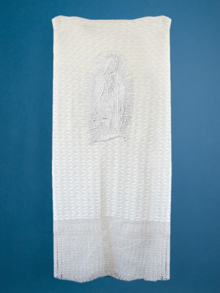 Knit Blanket with Our Lady of Guadalupe Embroidery - White