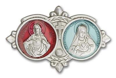 Sacred Heart of Jesus and Immaculate Heart of Mary Visor Clip - Silver | Red