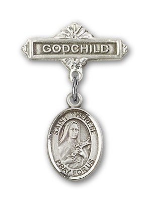 Pin Badge with St. Therese of Lisieux Charm and Godchild Badge Pin - Silver tone