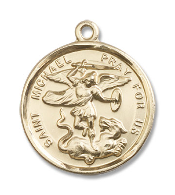 Double Sided St. Michael & Guardian Angel Medal - 14K Yellow Gold