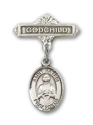 Pin Badge with St. Kateri Charm and Godchild Badge Pin - Silver tone