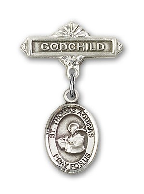Pin Badge with St. Thomas Aquinas Charm and Godchild Badge Pin - Silver tone