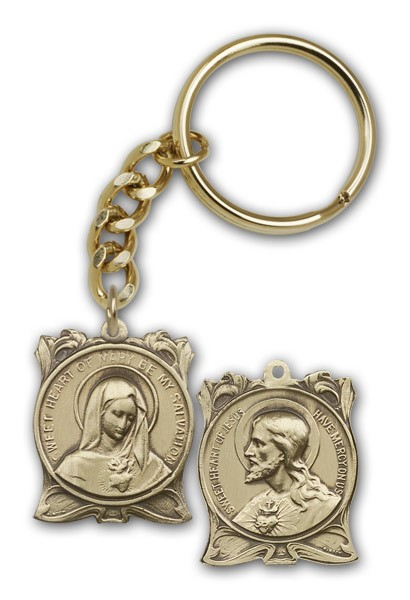 Immaculate Heart of Mary and Sacred Heart of Jesus Keychain - Antique Gold