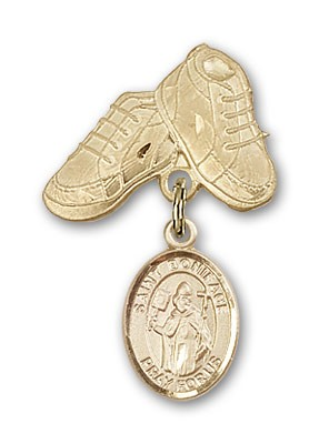 Pin Badge with St. Boniface Charm and Baby Boots Pin - 14K Yellow Gold