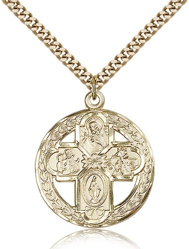 Men's Budded Tip Floral Center Four-Way Medal - 14KT Gold Filled