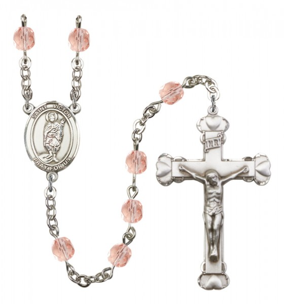 Women's St. Victor of Marseilles Birthstone Rosary - Pink