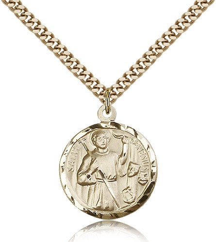 Round Saint Genesius of Rome Medal - 14KT Gold Filled