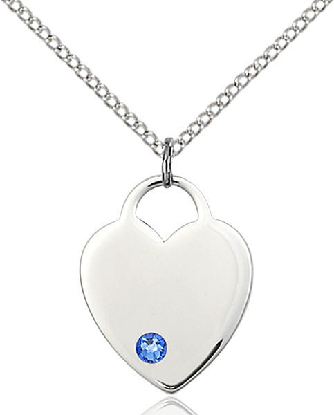Medium Heart Shaped Pendant with Birthstone Options - Sapphire