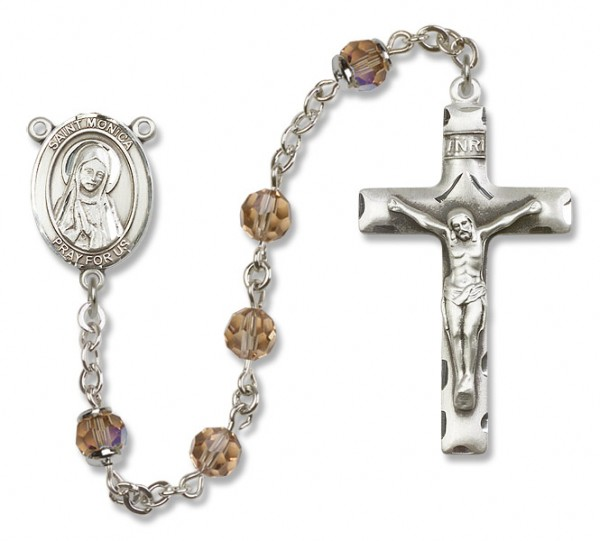 St. Monica Sterling Silver Heirloom Rosary Squared Crucifix - Topaz