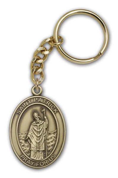 St. Patrick Keychain - Antique Gold