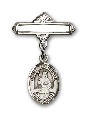 Pin Badge with St. Walburga Charm and Polished Engravable Badge Pin - Silver tone