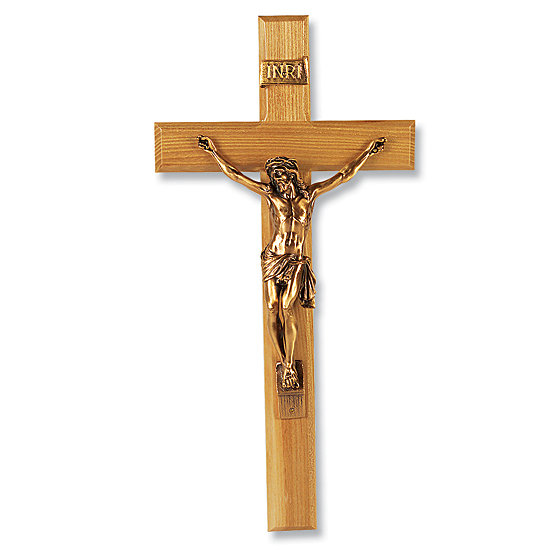 Oak Wall Crucifix with Gold-tone Corpus - 13 inch - Brown