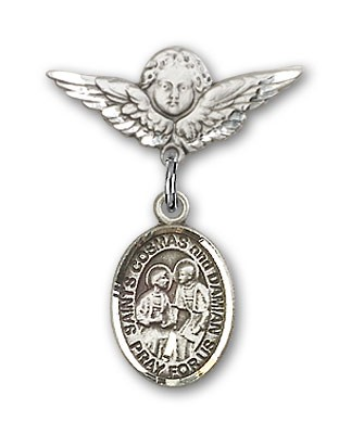 Pin Badge with Sts. Cosmas & Damian Charm and Angel with Smaller Wings Badge Pin - Silver tone