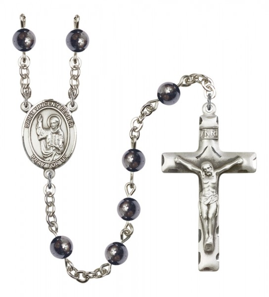 Men's St. Vincent Ferrer Silver Plated Rosary - Gray