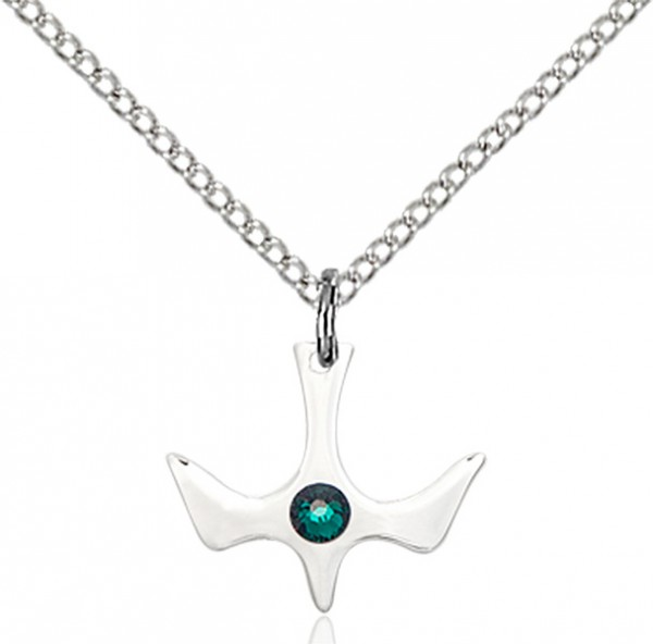 Holy Spirit Pendant with Birthstone Options - Emerald Green