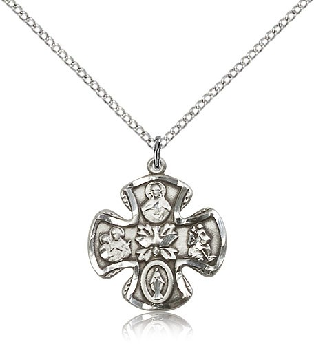 Women's Wide Tip 5-Way Medal with Dove Center - Sterling Silver