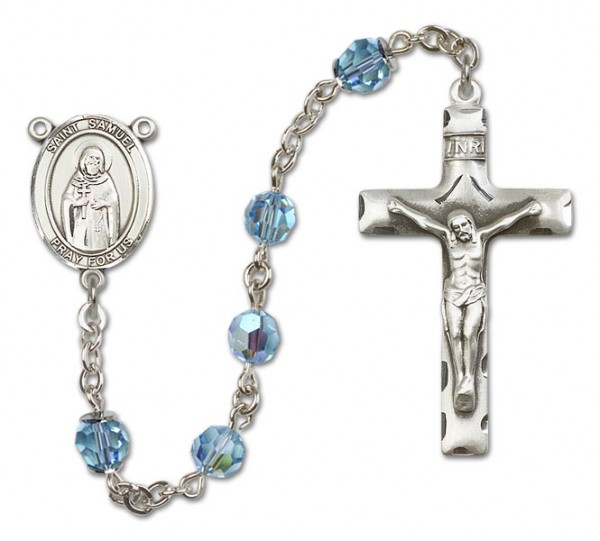 St. Samuel Sterling Silver Heirloom Rosary Squared Crucifix - Aqua