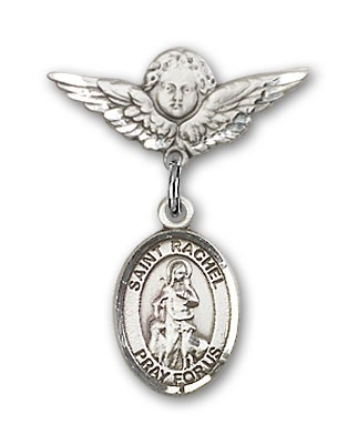 Pin Badge with St. Rachel Charm and Angel with Smaller Wings Badge Pin - Silver tone