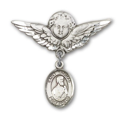 Pin Badge with St. Thomas the Apostle Charm and Angel with Larger Wings Badge Pin - Silver tone