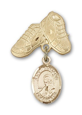 Pin Badge with St. Benjamin Charm and Baby Boots Pin - 14K Yellow Gold