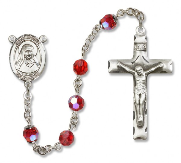 St. Louise de Marillac Sterling Silver Heirloom Rosary Squared Crucifix - Ruby Red