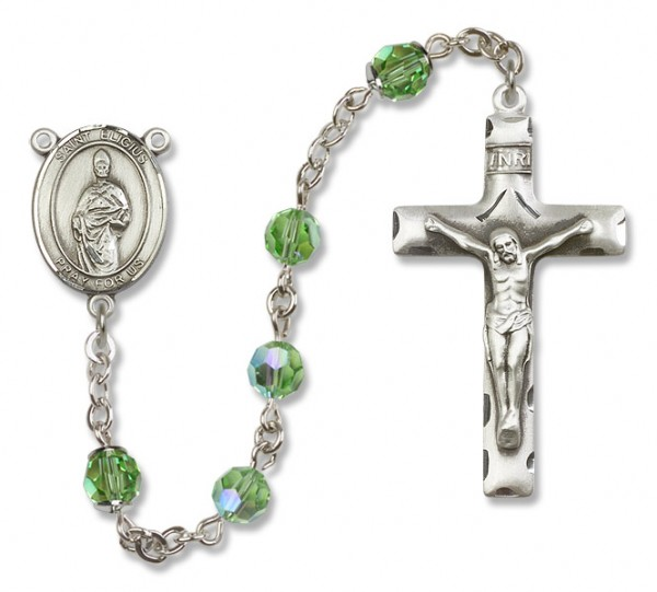 St. Eligius Sterling Silver Heirloom Rosary Squared Crucifix - Peridot