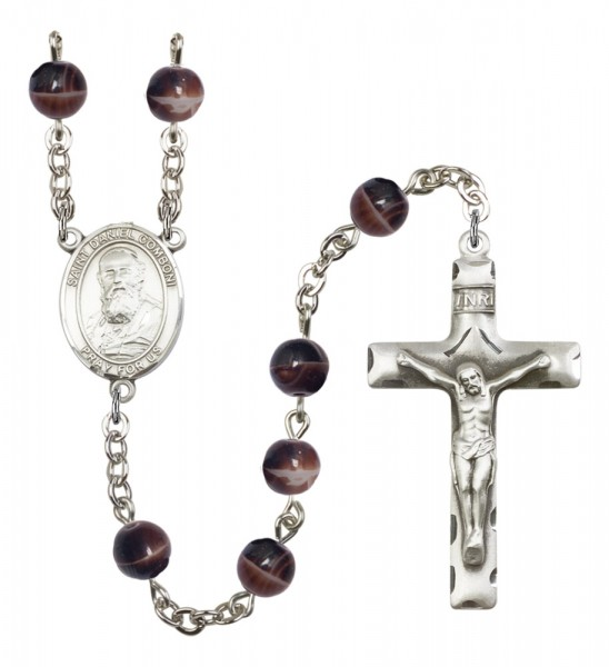 Men's St. Daniel Comboni Silver Plated Rosary - Brown