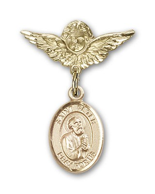 Pin Badge with St. Peter the Apostle Charm and Angel with Smaller Wings Badge Pin - 14K Solid Gold