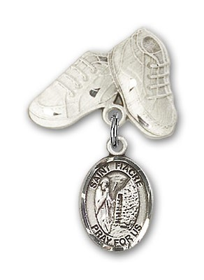 Pin Badge with St. Fiacre Charm and Baby Boots Pin - Silver tone