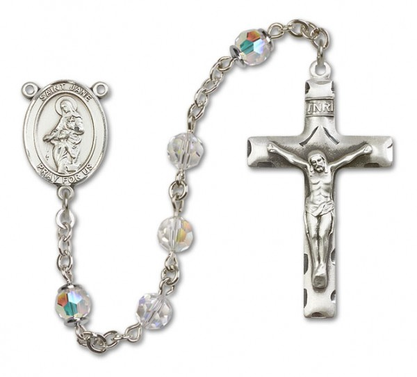 St. Jane Frances de Chantal Sterling Silver Sterling Silver Heirloom Rosary Squared Crucifix - Crystal