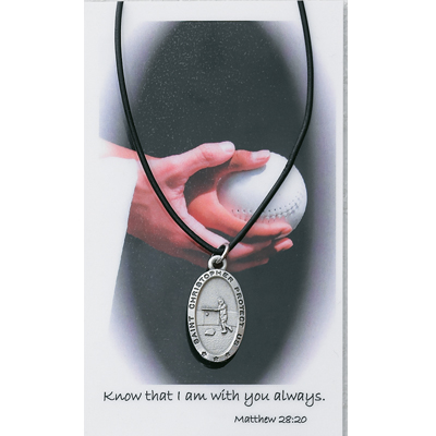 Girl's St. Christopher Softball Medal with Leather Chain and Prayer Card - Silver tone