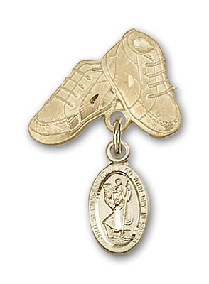Pin Badge with St. Christopher Charm and Baby Boots Pin - Gold Tone