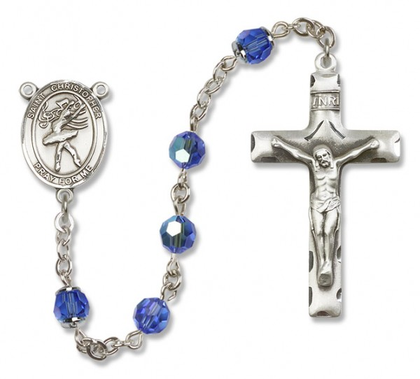 St. Christopher Dance Rosary Heirloom Squared Crucifix - Sapphire