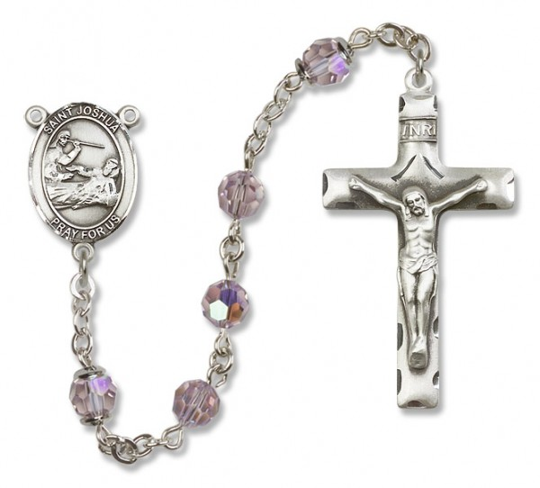 St. Joshua Sterling Silver Heirloom Rosary Squared Crucifix - Light Amethyst