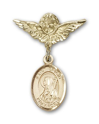 Pin Badge with St. Brigid of Ireland Charm and Angel with Smaller Wings Badge Pin - 14K Solid Gold